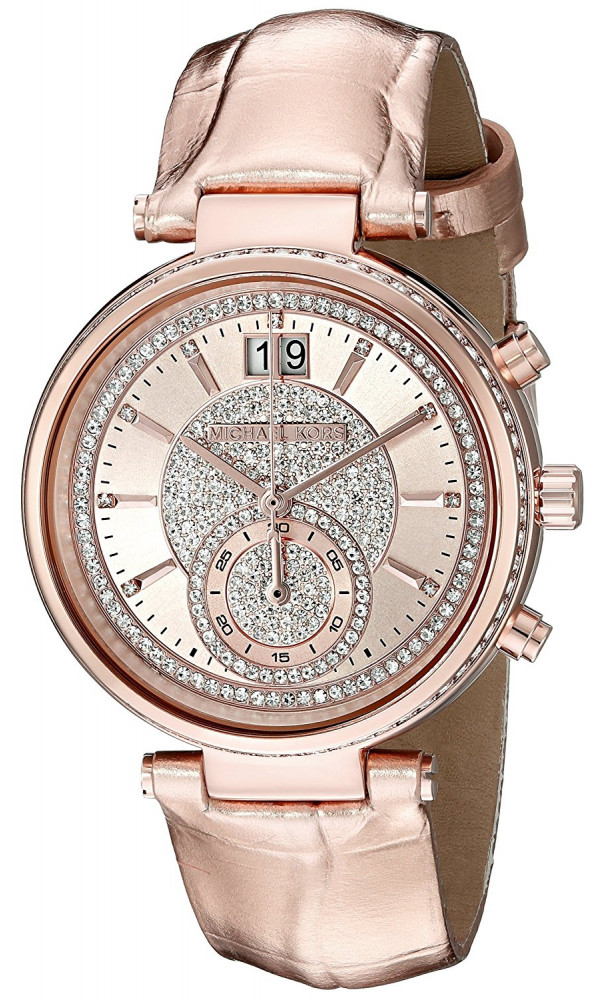 8f336806a1a8e MICHAEL KORS Sawyer MK2445 Champagne Crystal Pave Dial Leather Ladies Watch